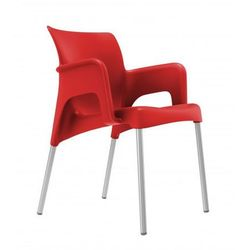 Krzesło z podłokietnikami do ogrodu, galerii, food court Resol Sun czerwone