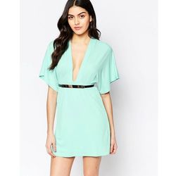 Twin Sister Kimono Sleeve Dress with Bar Belt - Green