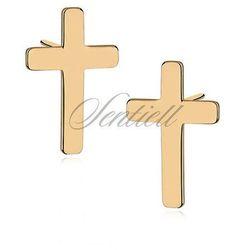 Srebrne kolczyki krzyże - pozłacane - Żółte złoto