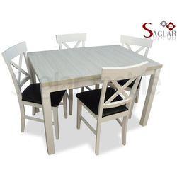Zestaw VIENNE III białe 4 krzesła i stół 80x120/150