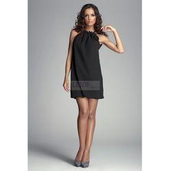 Szyfonowa sukienka z różami, czarna m065