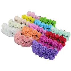 Sale!!! 2.cm head Multicolor PE rose foam mini flower Bouquet solid color/Scrapbooking artificial rose flowers(144pcs/lot)