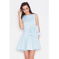 Ekskluzywna piankowa sukienka z kokardą niebieska