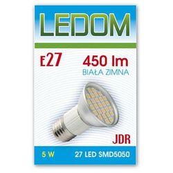 Żarówka - lampa LED 27 SMD5050 E27 JDR 230V 5W biała zimna