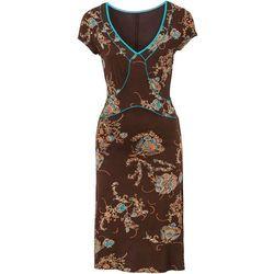 Sukienka wzorzysta bonprix brązowo-turkusowy wzorzysty