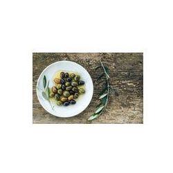 Foto naklejka samoprzylepna 100 x 100 cm - Talerz z oliwek śródziemnomorskich w oleju z gałęzi drzewa