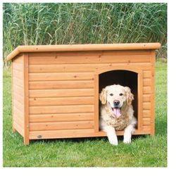 Naturalna buda dla psa z płaskim dachem
