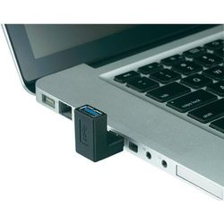 Przejściówka, adapter USB 3.0, renkforce, [1x Złącze męskie USB 3.0 A - 1x Złącze żeńskie USB 3.0 A], Czarny, kątowe jednostronne