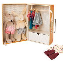 Moulin Roty Maskotki w szafie z ubrankami