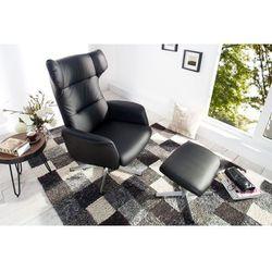 Fotel Classic z podnóżkiem czarny