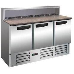 Stół do pizzy - 3 drzwiowy   +2° do +8°C   8x GN 1/6   granitowy blat