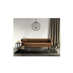 Foto naklejka samoprzylepna 100 x 100 cm - Klasyczne brązowe skórzane kanapy, ciemny dywan z stołków, lampa sufitowa