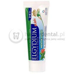ELGYDIUM Kids 50ml - miętowo-truskawkowa pasta do zębów mlecznych z fluorem dla dzieci w wieku 2-6 lat (zielona)