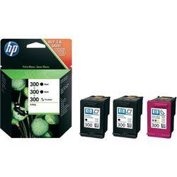 Tusz HP 300 + 300 + 300, SD518AE, oryginalny, 2 x czarny + kolor