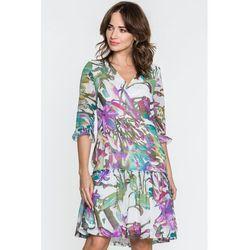 09877eb170 suknie sukienki biala sukienka z falbankami w groszki (od Kremowa ...