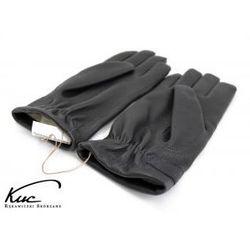 Ciepłe rękawiczki skórzane - skóra jelenia - fason z gumką - kolor grafitowy