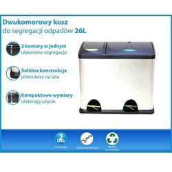 Dwukomorowy kosz do segregacji odpadów 26 Litrów (8L+18L)