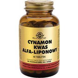 SOLGAR Cynamon i kwas alfa-liponowy, 60 tabl.