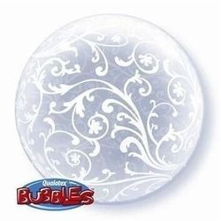 Filigranowy wzór kula transparentny bubble deco balon qualatex 24""