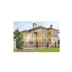 Foto naklejka samoprzylepna 100 x 100 cm - Nowoczesny dwukondygnacyjny domek z kutego ogrodzenia