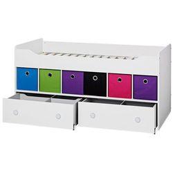 COMBEE łóżko zestaw z szufladami i kolorowymi pudełkami