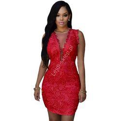 Koronkowa czerwona sukienka | koronkowa minisukienka , gipiura