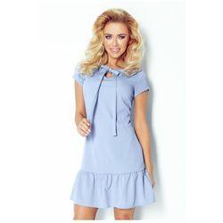 101-1 Sukienka z falbanką i kokardką - błękitny