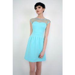 Elegancka sukienka mini z tiulem Catherine turkusowa