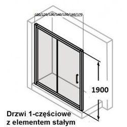 Drzwi suwane Huppe Classics 130 cm z elementem stałym, srebrny połysk, szkło przeźroczyste C20403.069.321