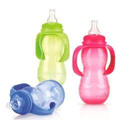 Nuby, butelka dwuetapowa z uchwytami, standardowa szyjka, 320 ml Darmowa dostawa do sklepów SMYK