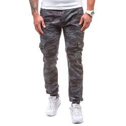 Moro-grafitowe spodnie joggery bojówki męskie Denley 1111 - GRAFITOWY