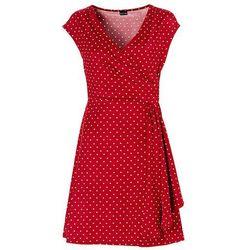 Sukienka w groszki bonprix ciemnoczerwono-ecru