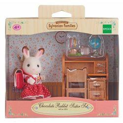 Sylvanian Families, biurko i siostra królików z czekoladowymi uszkami, zestaw z figurką Darmowa dostawa do sklepów SMYK