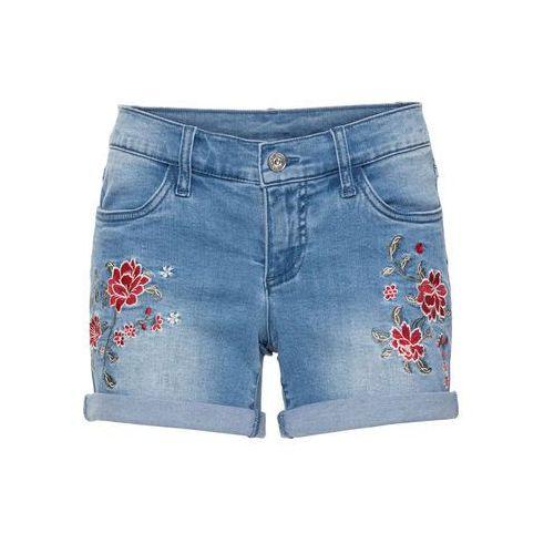 13c093a84 Szorty dżinsowe z haftem bonprix niebieski bleached - porównaj zanim ...