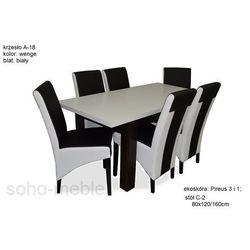 ZESTAW WELES stół 80x120/160cm + 6 krzeseł A-18 NOWE/LAMINAT/EKOSKÓRA