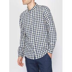 Koszula w kratę z długim rękawem, prosty fason