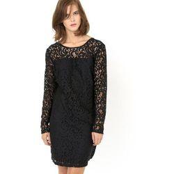 Prosta sukienka, długie rękawy, koronka, z podszewką, okrągły dekolt