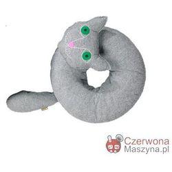 Poduszka do siedzenia Lilyshop Kot jasnoszara z zielonymi oczami