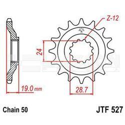 Zębatka przednia JT F527-17, 17Z, rozmiar 530 2200864 Kawasaki ZX-10 1000