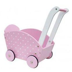 Drewniany wózek dla lalek różowy- pchacz
