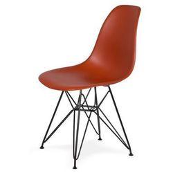 Krzesło DSR BLACK - Ceglasty, nogi czarne metalowe.