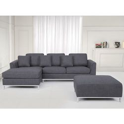 Sofa szara - sofa narozna P - tapicerowana – sofa z pufa - OSLO