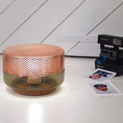 LIGHT DROP SMALL - Lampa stojąca LED Miedź/Szary Śr.20cm