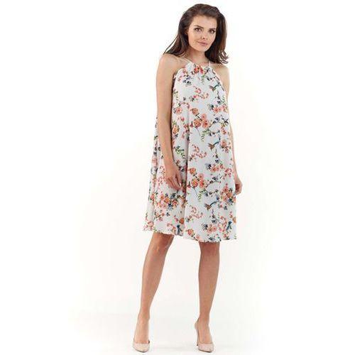 1de0a628f9 Ecru Zwiewna Sukienka Midi w Kwiatowy Wzór z Wiązanym Dekoltem ...