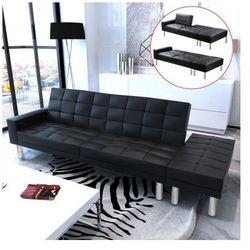 Rozkładana sofa z czarnej eko skóry Zapisz się do naszego Newslettera i odbierz voucher 20 PLN na zakupy w VidaXL!