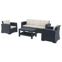 Zestaw mebli ogrodowych z technorattanu Monaco sofa 3 os. + 2 fotele + stolik szary