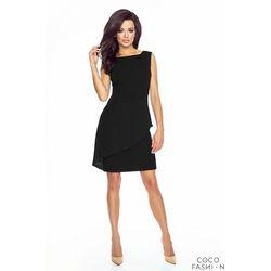 Czarna Koktajlowa Sukienka z Szyfonową Falbaną