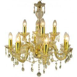 Żyrandol LAMPA wisząca MARIA TERESA 30-94608 Candellux metalowa OPRAWA świecznikowa kryształki złoty