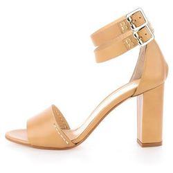 Beżowe skórzane sandały na słupku