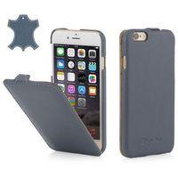 Skórzane etui z klapką StilGut UltraSlim - niebieskie (skóra nappa) - iPhone 6 Plus